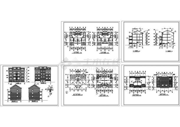 某房屋3层住宅楼建筑设计CAD施工图(含地下小区设计图效果图两室一厅图片