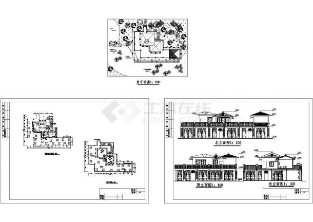 5米 宽17.1米 二层茶室建筑设计图(总平 一二层平面 立面)