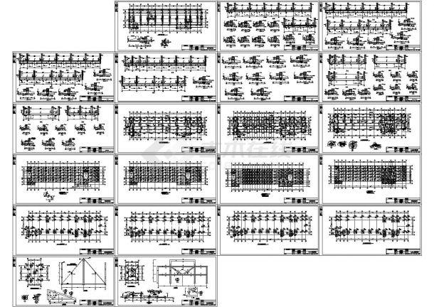 某四层思维教学楼结构设计图纸,共21张框架教程导图绘制图纸视频图片