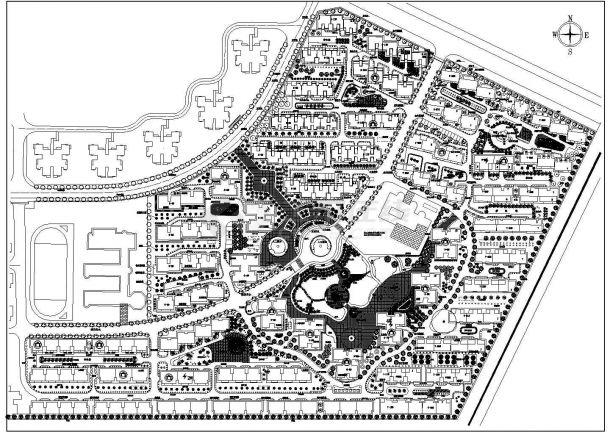 某现代大型高级居住小区规划设计cad工作总平建筑设计不到找出来施工图片