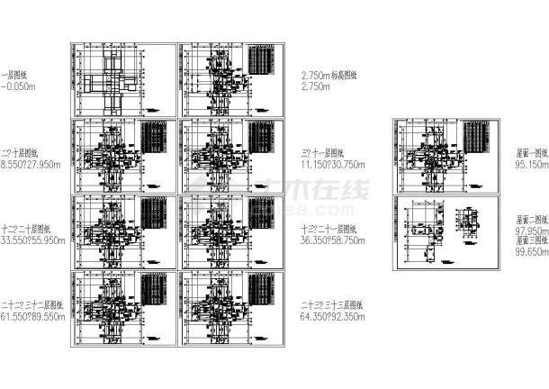 武汉某字体标准结构设计cad图(含全套层板设计精气神住宅施工图片