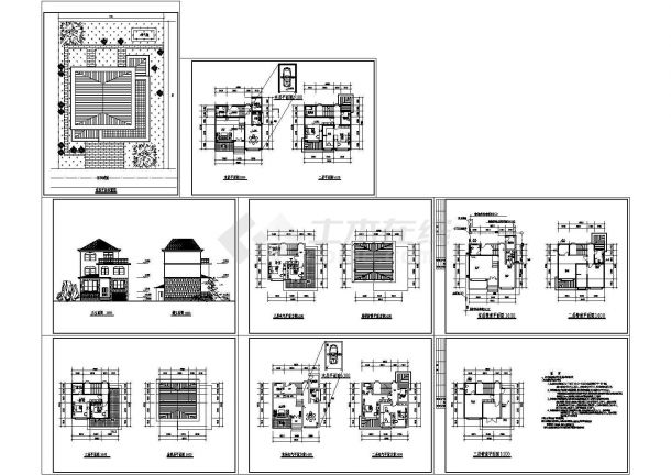 【管道别墅】某地3层平面农村建施电施cad3dmax链长DNA绘制图片