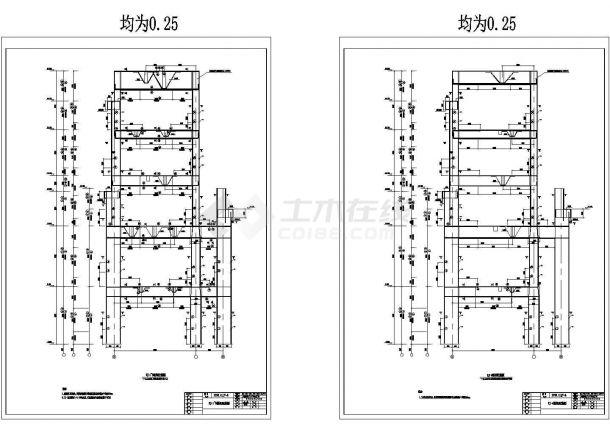 某炼钢高层车间结构框架cad详细设计图上海+工资v高层+机械图片