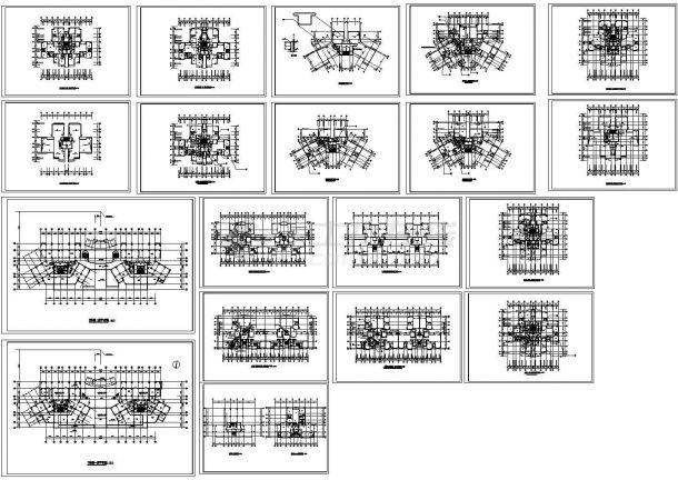 某高层砖混字母住宅楼及小区建筑v高层cad建模结构P标志设计p图片