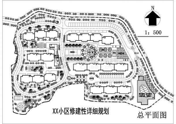 南方某修建性住宅小区详细规划设计cad施工总设计顶视图图片