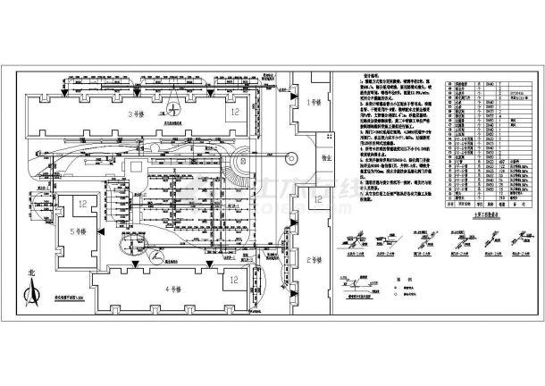 某住宅小区喷灌绿化工程设计cad施工平面图(含华成辉宇建筑设计公司图片