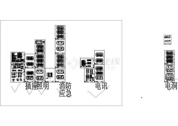 某地单元式住宅小区全套图纸设计施工cad电气酒设计图房烤图片