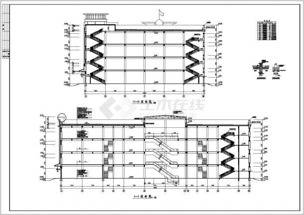 某四层砖混结构商场设计cad全套建筑施工图(标注详细)