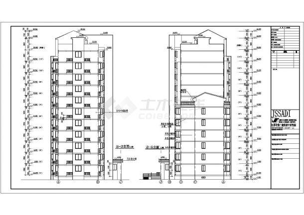 江苏某住宅小区11层住宅楼建筑设计图纸方案绘制剖面图的方法图片