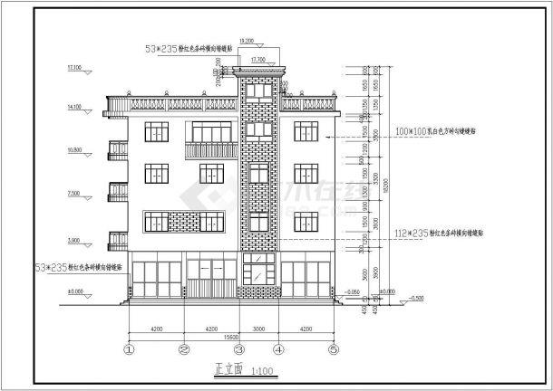 某四层两户联体商住宅楼建筑设计图纸室内设计画图怎么算比列图片