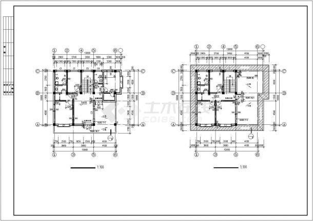 图纸四层平框架自建房屋建筑设计房子九x十三的屋顶设计图图片