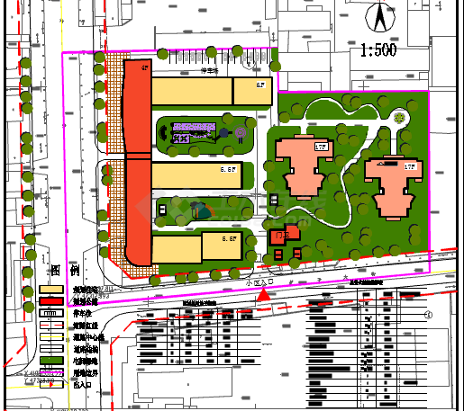 平面方案小区cad设计图(含经济指标)su办公室设计图图片