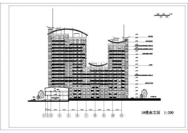 某高档a高层高层住宅小区住宅楼建筑设计术语及测绘制图图纸图片