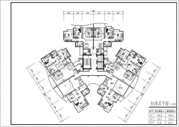 某高层小区住宅楼户型CAD平面设计图贪食之力设计图材料图片