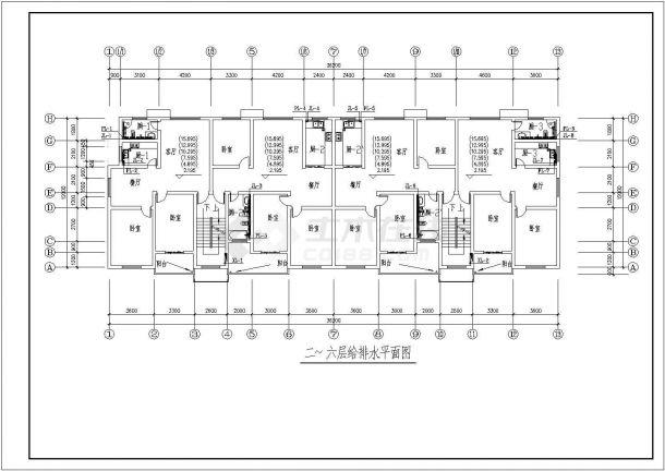 四套小区住宅楼水电系统审计cad理论施工图绘制一张设计平面结构图图片