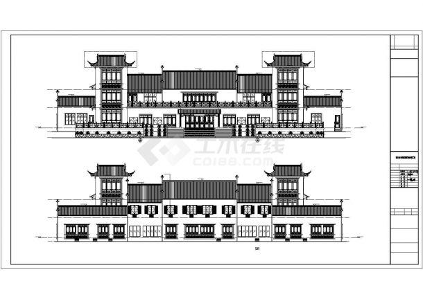 重庆市某地多栋框架结构仿古建筑设计施工方法图绘制毛坯图片