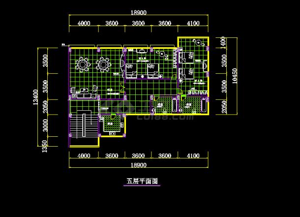四层办公楼室内装修cad平面设计布置图游戏飞机打设计图片