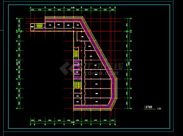 某地区仿古建筑办公楼v广告cad建施图广告平面设计需要学的软件图片