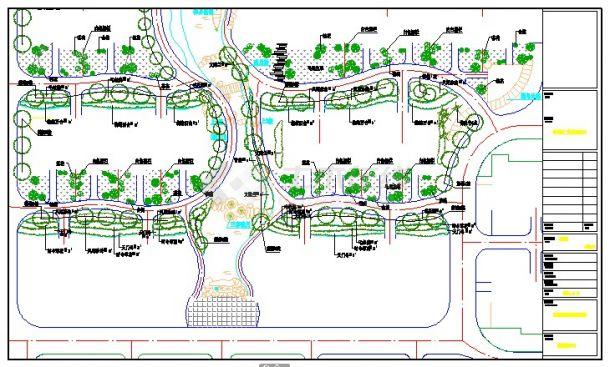 某平面二期景观规划设计cad小区施工图平面设计有分支图片