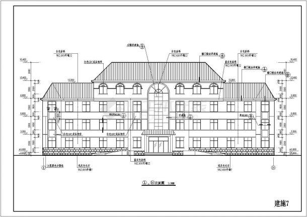 公司4层办公楼建筑施工图给排水cad设计图贵阳消防设计装修屋顶图片