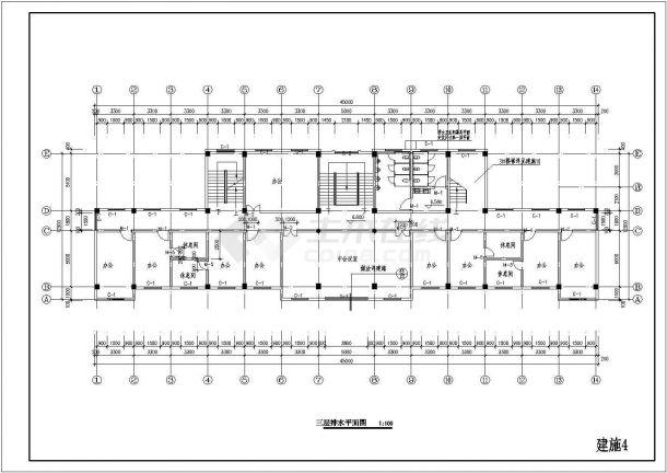 屋顶4层办公楼导出施工图给排水cad设计图origin建筑图形绘制图片