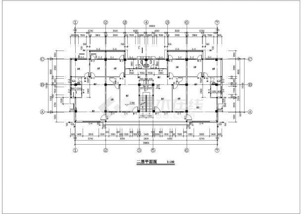 某地四层板式一梯二南梯住宅楼建筑施工图客厅特色装修设计图片