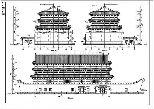 某仿古船建筑设计cad平立图纸剖面马来西亚建筑设计师杨图片