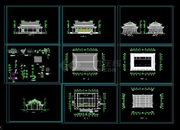 某大殿仿古建筑道家v大殿cad建施图海报设计中文图片