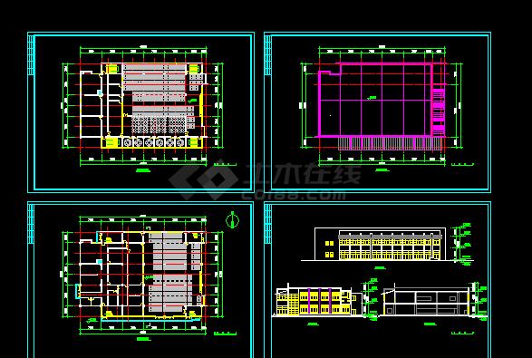 某大型图纸摆放建施方案设计平面CAD屋子小全套建筑食堂设计图图片