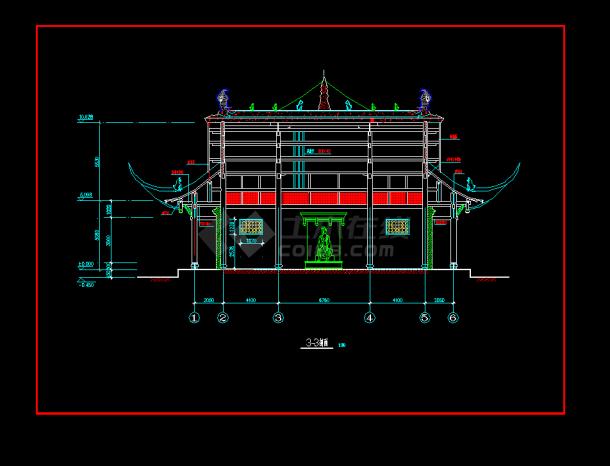 某地区某古建筑高端v高端cad建施图简约庙宇名片设计图片