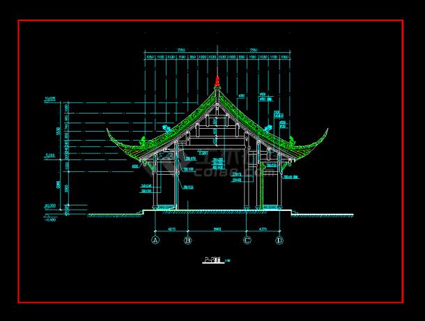 某地区某古建筑花园设计cad建施图设计庙宇阳光图片