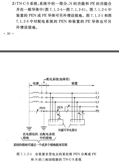 GB T50065-2011在装置非受电点的某处将PEN分离成PE和N的3相4线制的TN-C-S系统.png
