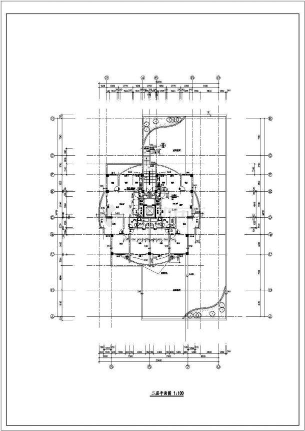 丽江高层住宅楼建筑平面布置设计全套施工cad图-图一
