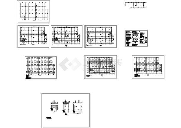 五层四跨框架厂房建筑结构毕业设计cad图纸(含计算书)-图二
