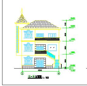 农村某大型别墅建筑设计cad施工图-图二