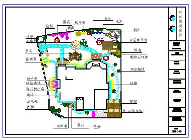 某别墅庭院景观设计cad平面图纸-图一