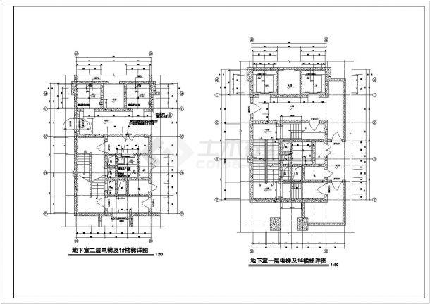 金华市某现代化小区3800平米地下双层停车场及人防工程设计CAD图纸-图一