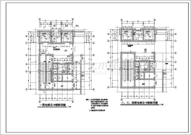 金华市某现代化小区3800平米地下双层停车场及人防工程设计CAD图纸-图二