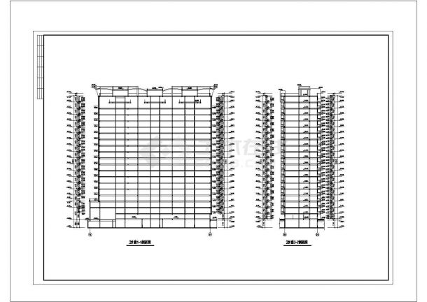 重庆居安花园小区18层框架住宅楼平剖面设计CAD图纸(含跃层和机房层)-图二