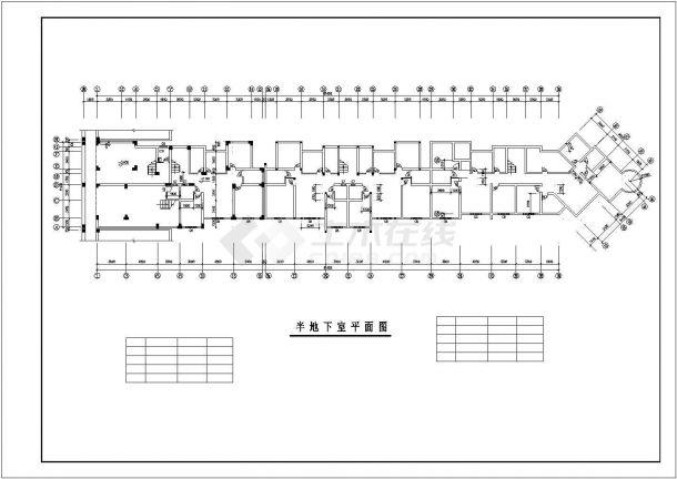 武汉世纪缘小区6层砖混结构组合式住宅楼建筑设计CAD图纸(含半地下层)-图一