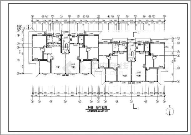广州市福锦花园小区3200平米6+1层砖混结构住宅楼建筑设计CAD图纸-图一