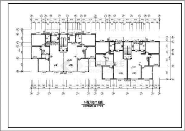 广州市福锦花园小区3200平米6+1层砖混结构住宅楼建筑设计CAD图纸-图二