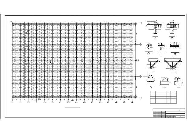 某公司单层带天车钢结构厂房结构设计施工CAD图纸-图一