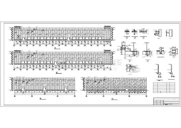 某公司单层带天车钢结构厂房结构设计施工CAD图纸-图二