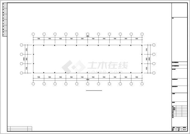 某石材城钢结构厂房结构设计施工CAD图纸-图一