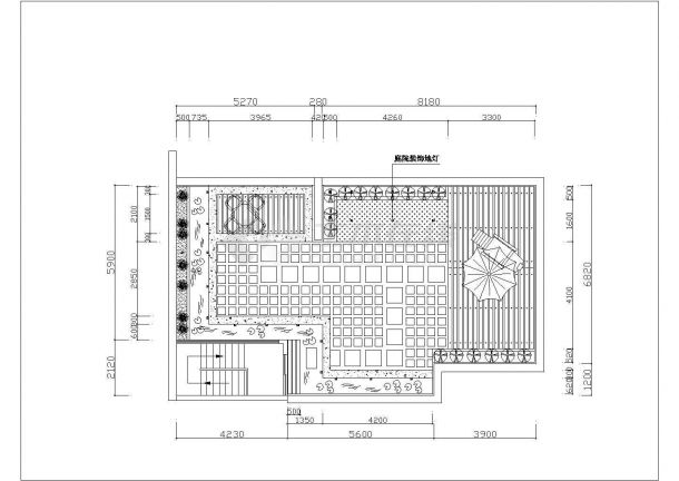 某别墅建筑屋顶花园景观设计施工CAD图纸-图二