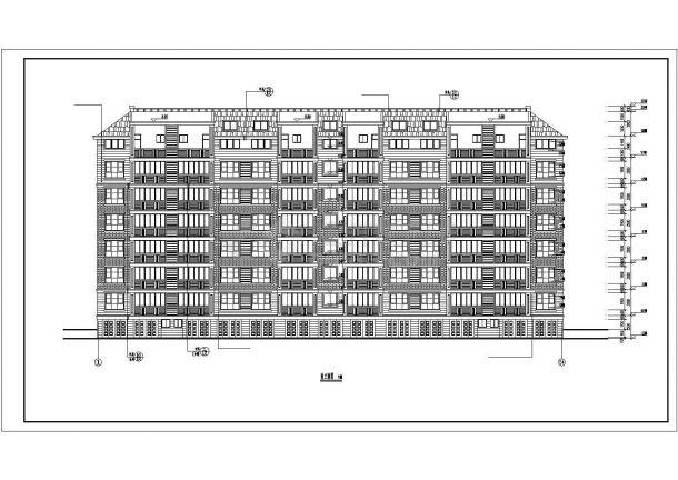 重庆市水韵小区5200平米6层砖混结构住宅楼建筑设计CAD图纸(含坡屋顶)-图一