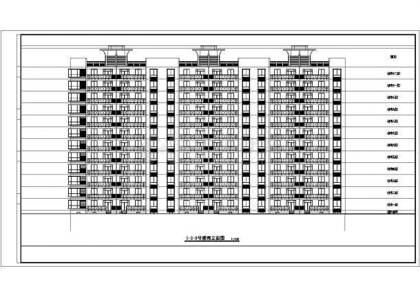 阜阳市文正花园小区12层框架结构住宅楼建筑设计CAD图纸(含地下室)-图二