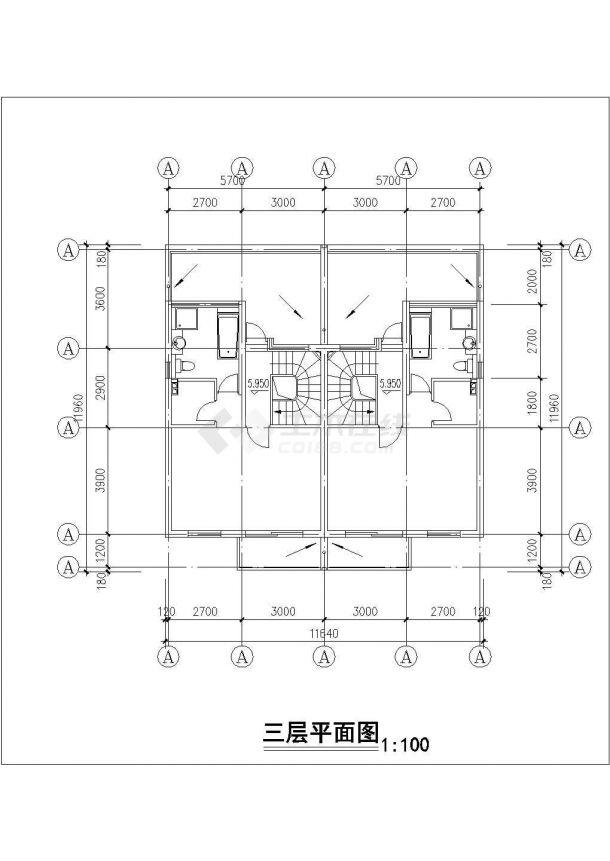 渭南市品江花园小区3层砖混结构住宅楼建筑设计CAD图纸(含车库层)-图一