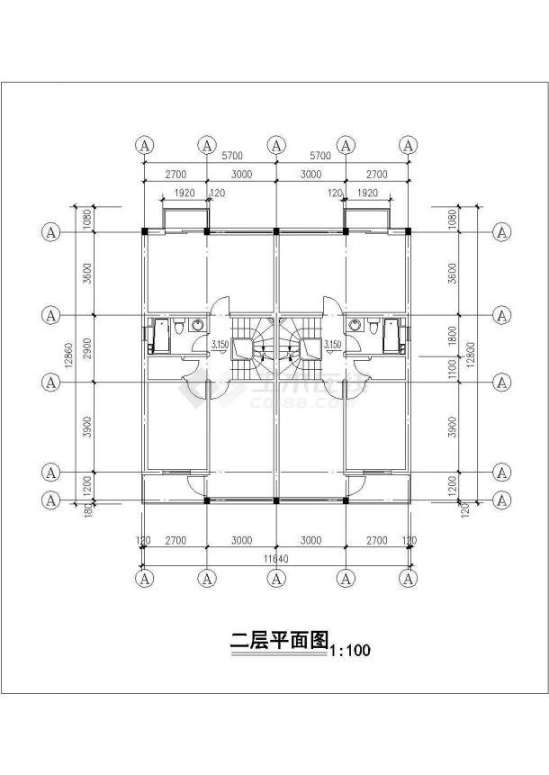 渭南市品江花园小区3层砖混结构住宅楼建筑设计CAD图纸(含车库层)-图二